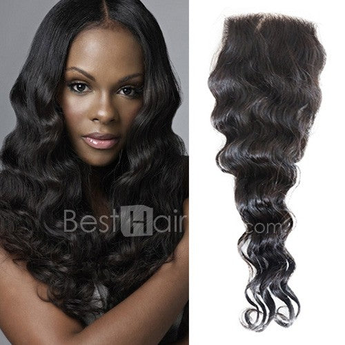 10-20 Inch Virgin Brazilian Hair Loose Wavy 4*4 Hand Tied Free Part Lace Top Closure