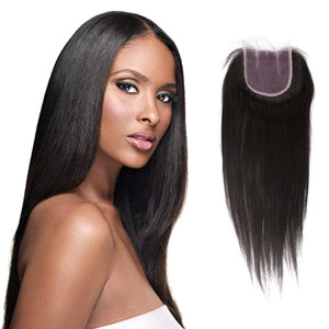 10-16 Inch Virgin Brazilian Hair Straight 4*4 Three Part Lace Top Closure