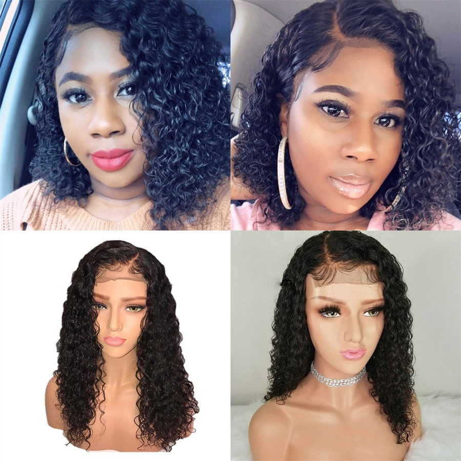 [Extra 20% Off] Pre-Plucked Brazilian Virgin Hair Lace Front Water Wavy Bob Wigs