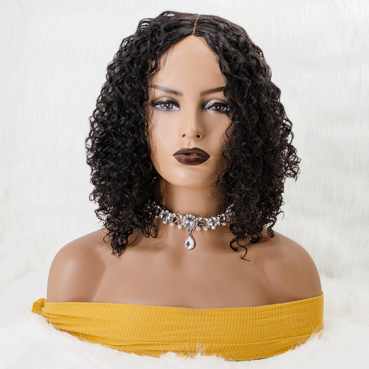 #1B Natural Black Fluffy Deep Curly Invisible T Part Lace Human Hair Wigs
