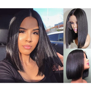 Invisible knots Straight Bob Transparent Lace Front Wigs