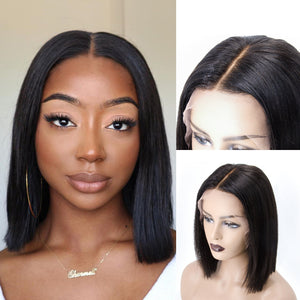 Easiest No Baby Hair Whole Bleached Straight Bob Lace Front Wig