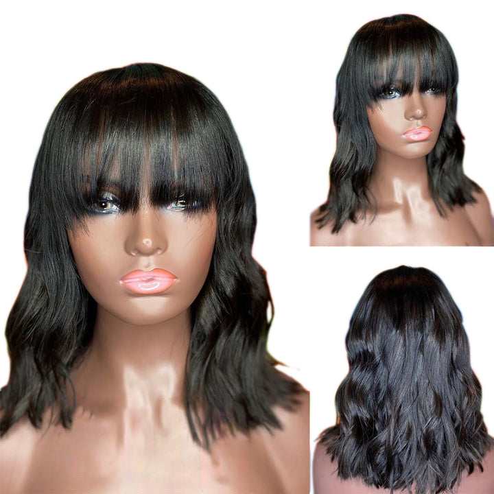 [NEW IN]Natural Wavy Brazilian Virgin Hair Full Cap Wig With Bang