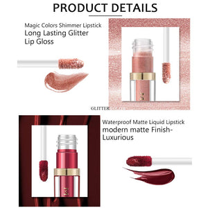 Matte Nude Lipstick Set & Liquid Glitter Lipstick Set, Coosa Waterproof Long Lasting Highly Pigmented Liquid Lipsticks Non-Stick Cup Lipstick Set