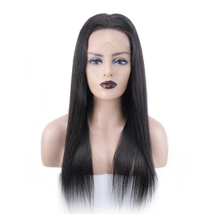 Easiest No Baby Hair Whole Bleached Straight Lace Front Wig