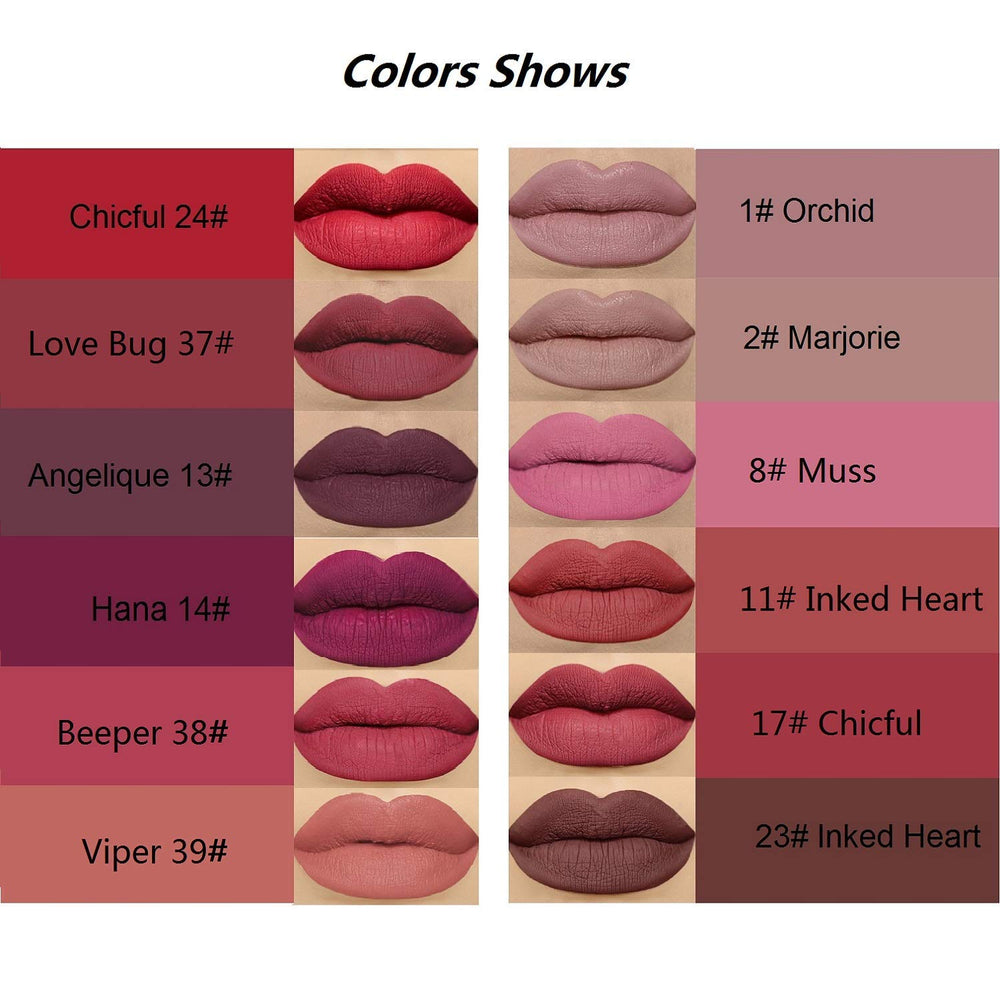 Matte Liquid Lipstick Set 12 PCS Colorstay and Waterproof Long Lasting Lip Stick with Healthy and Natural Materials