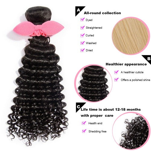 "【Platinum 8A】	10""-30"" 3 Bundles Deep Curly Virgin Brazilian Hair Natural Black 300g"
