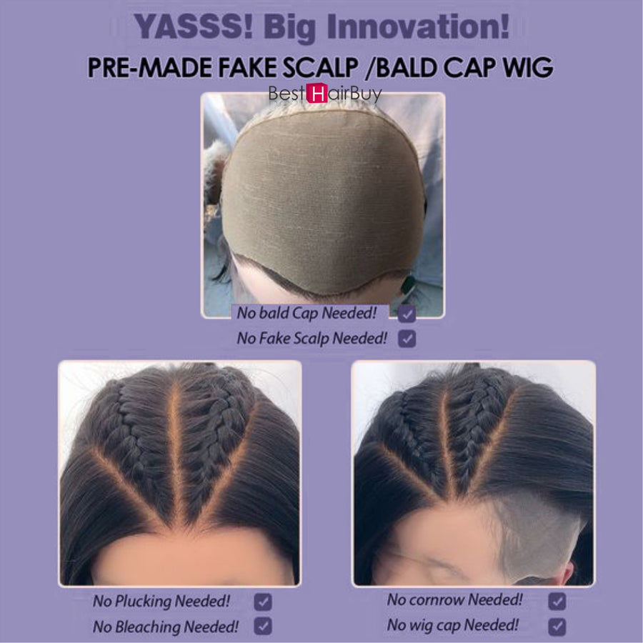 ISSA Glueless Pre-Made Fake Scalp Lace Front Wig Human Hair Bleached Knots