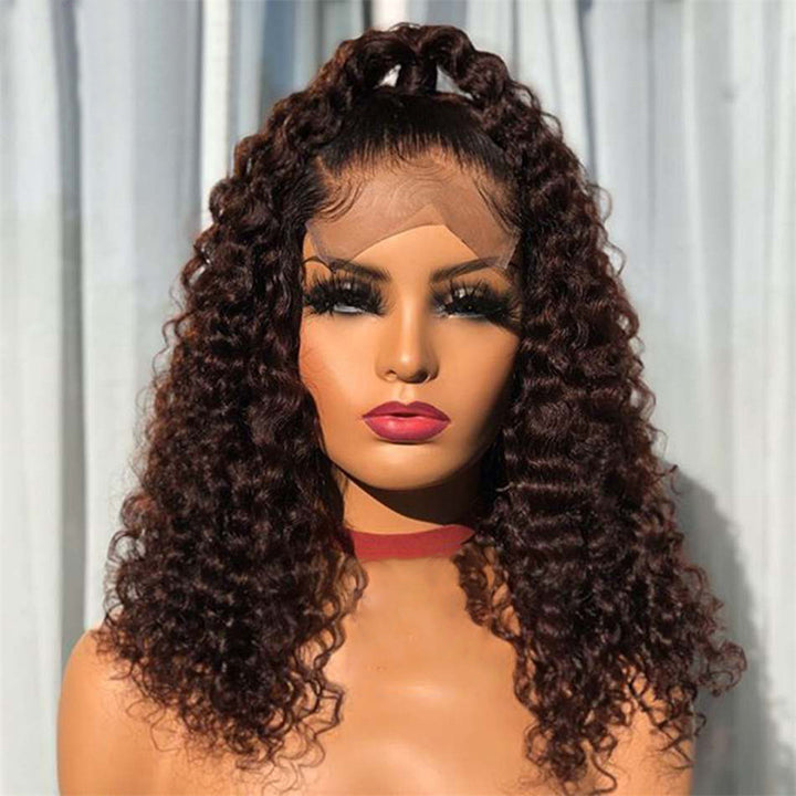 【NEW IN】Braided Deep Curly Brazilian Virgin Hair Lace Front Wigs