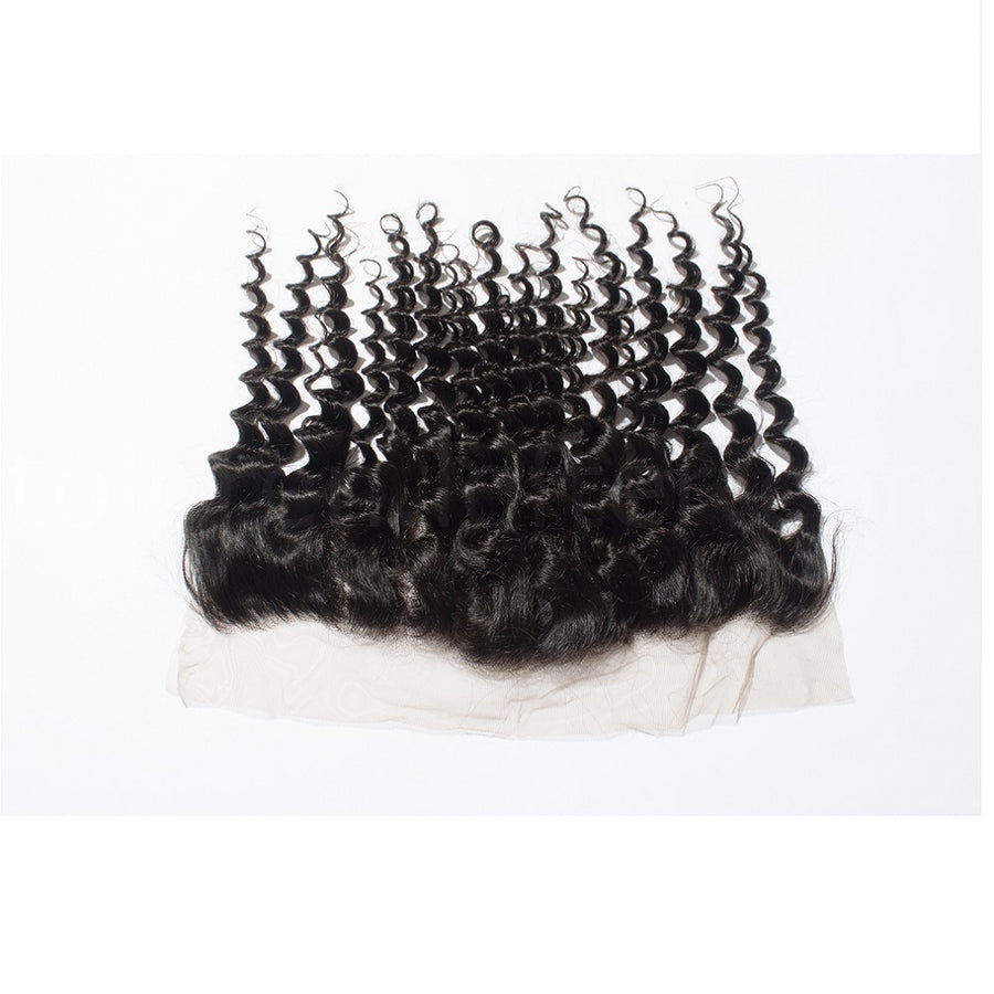 8-20 Inch Virgin Brazilian Hair Deep Curly 13*4 Free Part Lace Frontal Closure