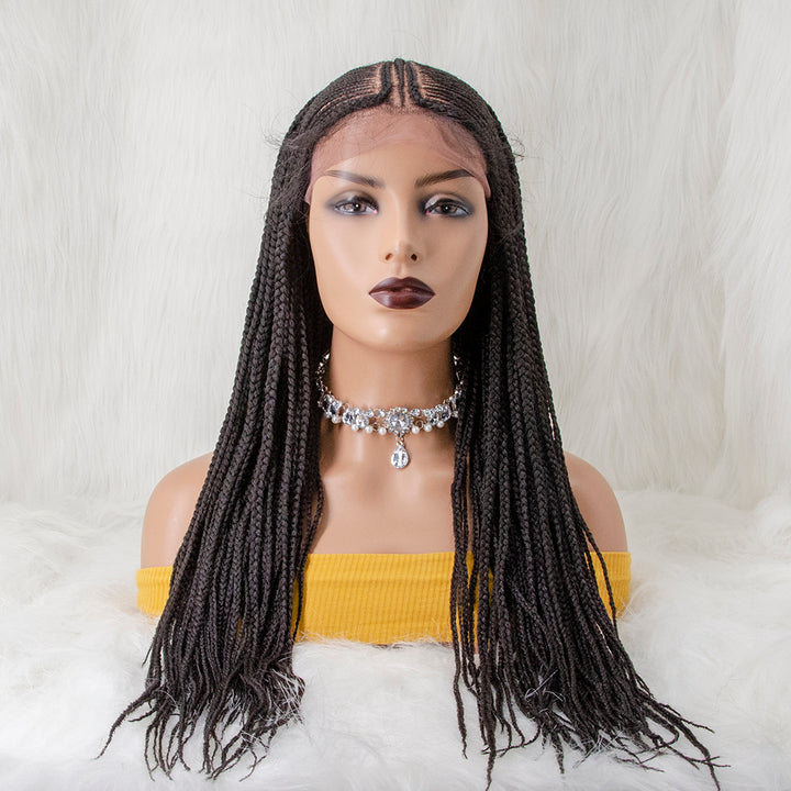 [NEW IN] 100% Handmade Knotless Box Braided Cornrow Pre-Braided Lace Front Wig