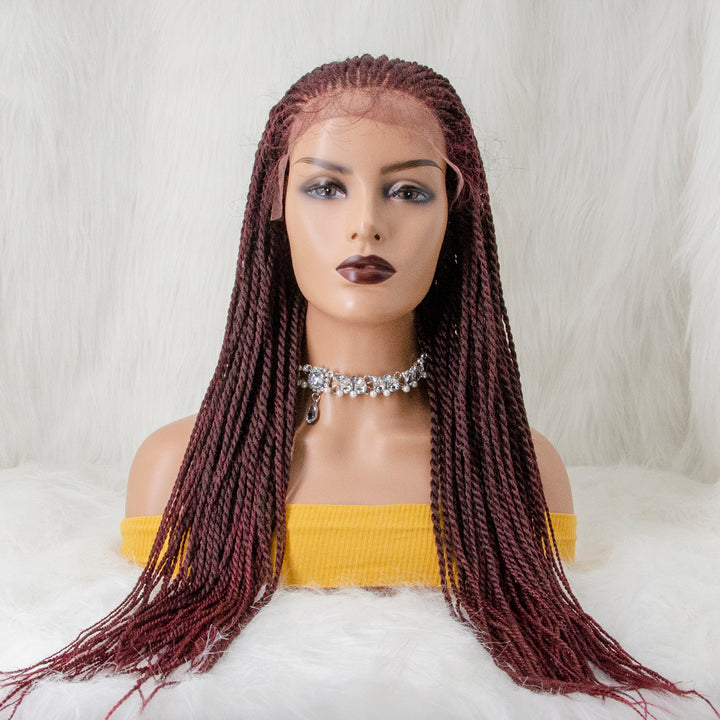 100% Hand Braided Box Braids Cornrow Ombre Color 13x5 Glueless Braided Lace Wig