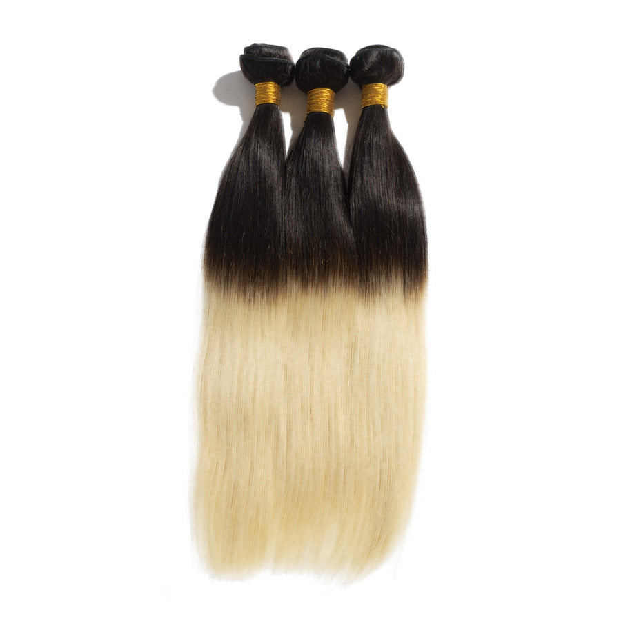 Ombre Hair Extensions Sun-Kissed Two Tone #1B/613 Straight Remy Human Hair 3pcs/lot 300g