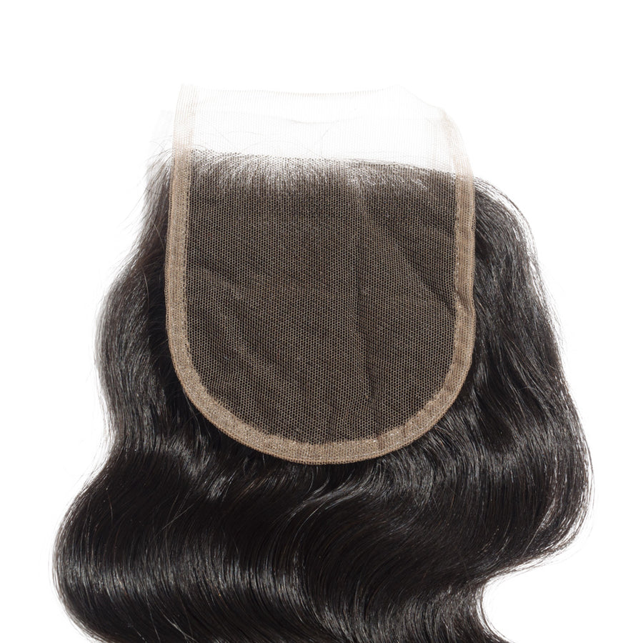 10-20 Inch Virgin Brazilian Hair Body Wavy 4*4 Hand Tied Free Part Lace Top Closure