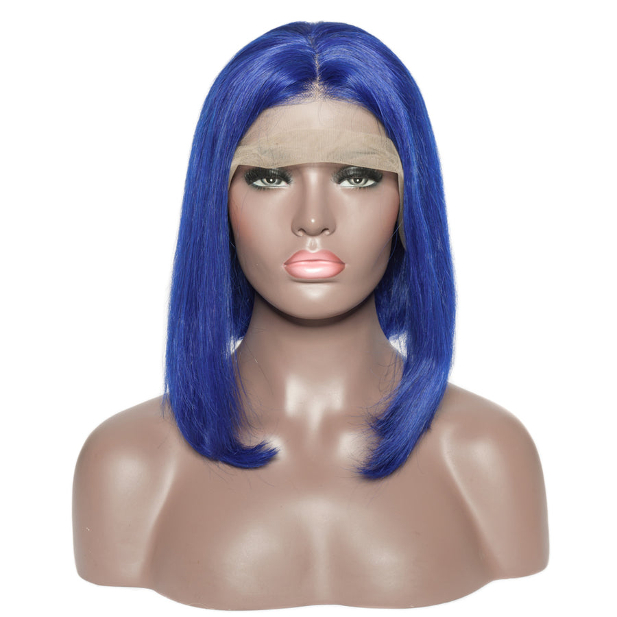 Pre-Plucked Brazilian Virgin Hair Lace Front Blue Bob Wigs