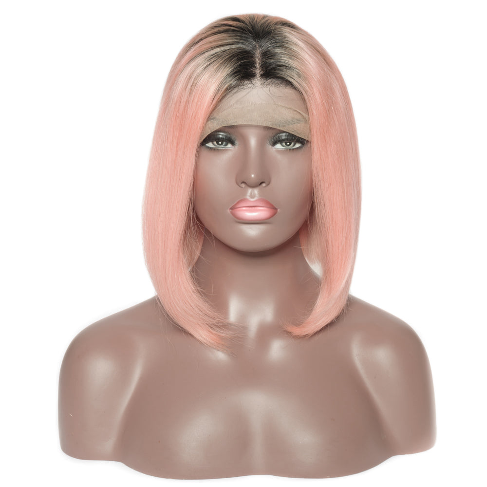 Pre-Plucked Brazilian Virgin Hair Lace Front #1B/Pink Ombre Bob Wigs