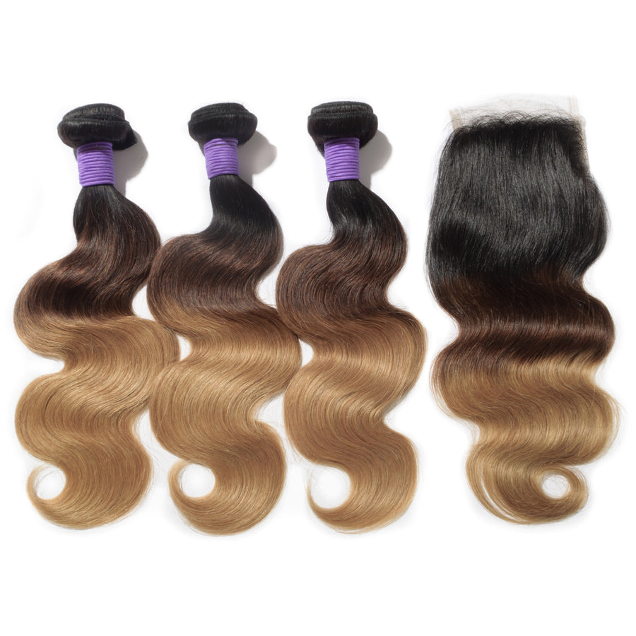 #1B/4/27 Ombre Hair Closure 1pcs With Hair Weave 3pcs Body Wavy