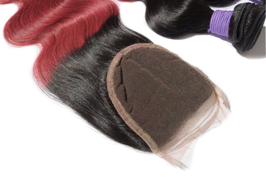 #1B/Red Ombre Hair Closure 1pcs With  Hair Weave 3pcs Body Wavy
