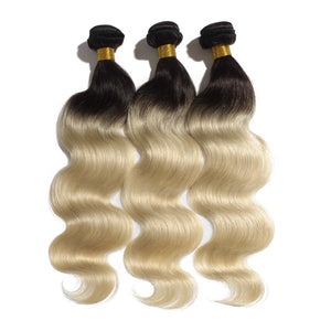 3pcs/lot Ombre Hair Extensions Two Tone #1B/613 Body Wavy Remy Human Hair 300g