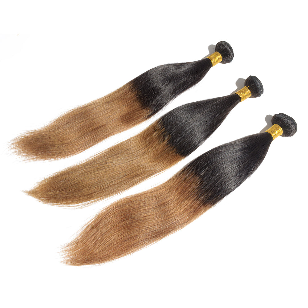 16 Inch - 26 Inch Two Tone #1B/27 Straight Indian Remy Human Hair 3pcs/lot Ombre Hair