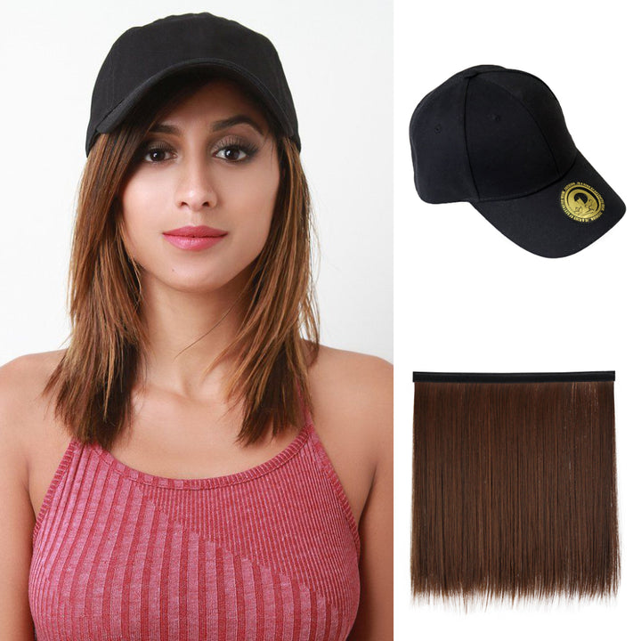 Brown Straight Baseball Cap with Hair Extension Synthetic Wig