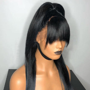 [NEW IN]Frontal Ponytail Straight Lace Front Human Hair Wigs With Bangs