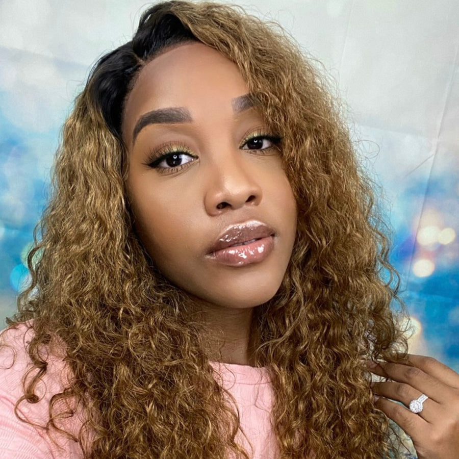#1B/30 Ombre Long Curly Invisible T Part Lace Human Hair Wigs