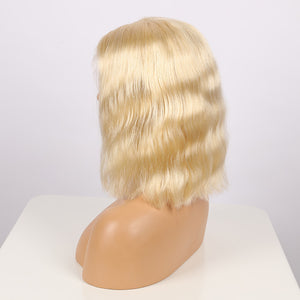 Pre-Plucked Brazilian Virgin Hair Lace Front #613 Straight Bob Wigs