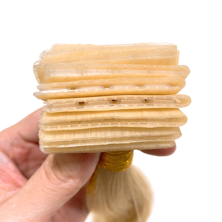 #613 Lightest Blonde Straight Clip Tape Hair Extensions