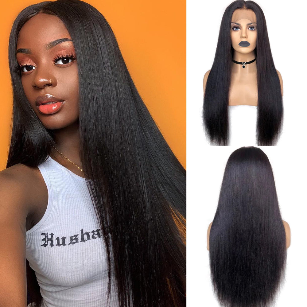 Glueless Pre-Made Fake Scalp Lace Front Wig Straight Human Hair Bleached Knots