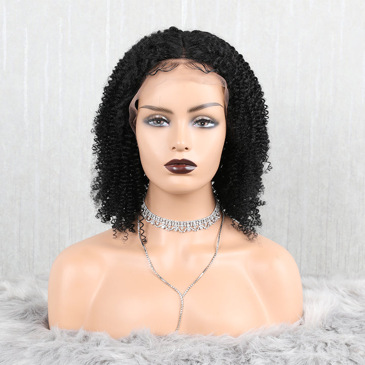 "12"" Short Kinky Curly Bob Wigs Lace Front Wigs"