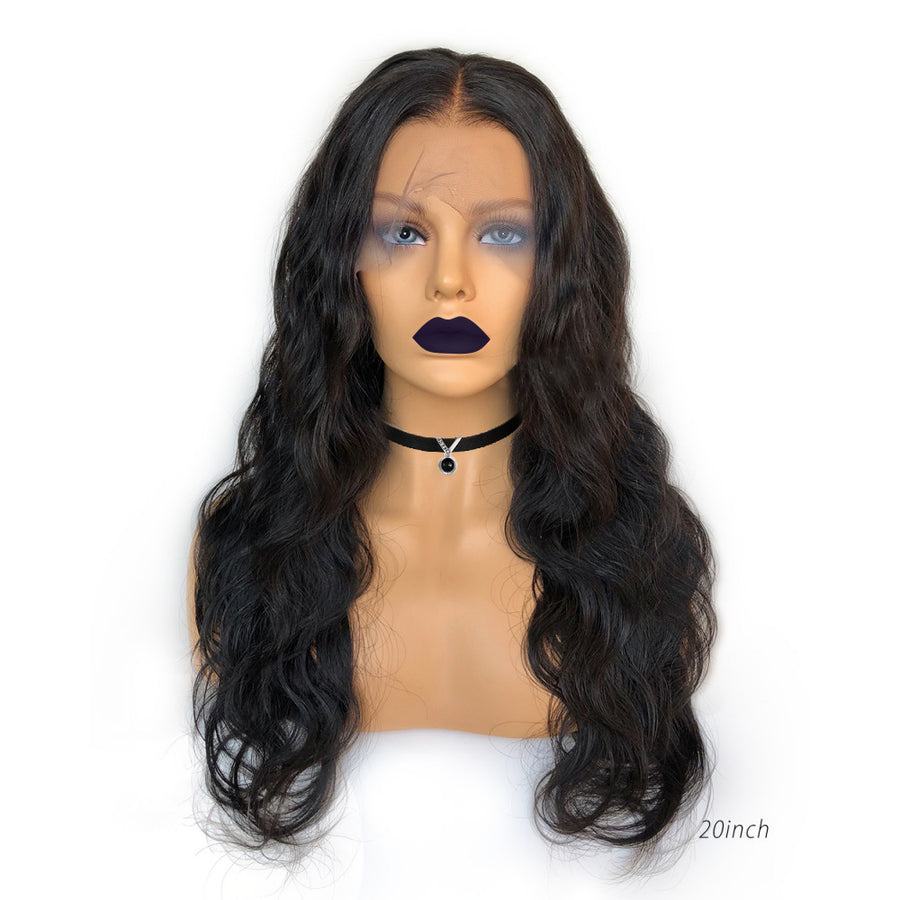 Fake Scalp Lace Front Human Hair Wavy Wig