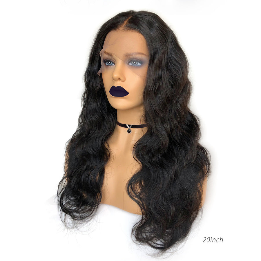 Free Parting Human Hair Fake Scalp Lace Front Wig
