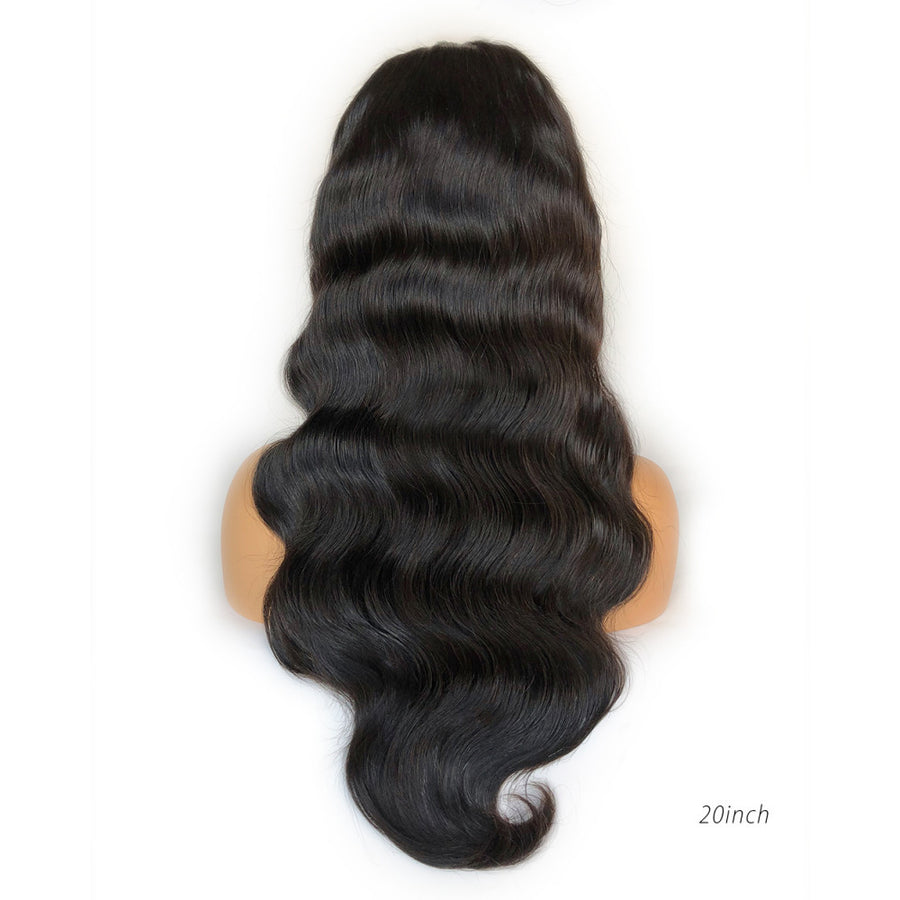 Fake Scalp Lace Frontal Human Hair Black Wig