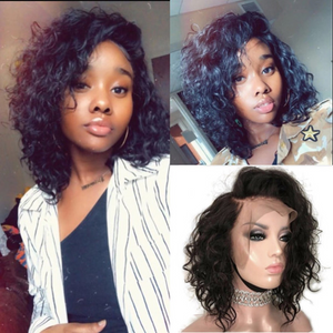 [Extra 20% Off] Pre-Bleached Curly Brazilian Virgin Hair Lace Front Short Bob Wigs