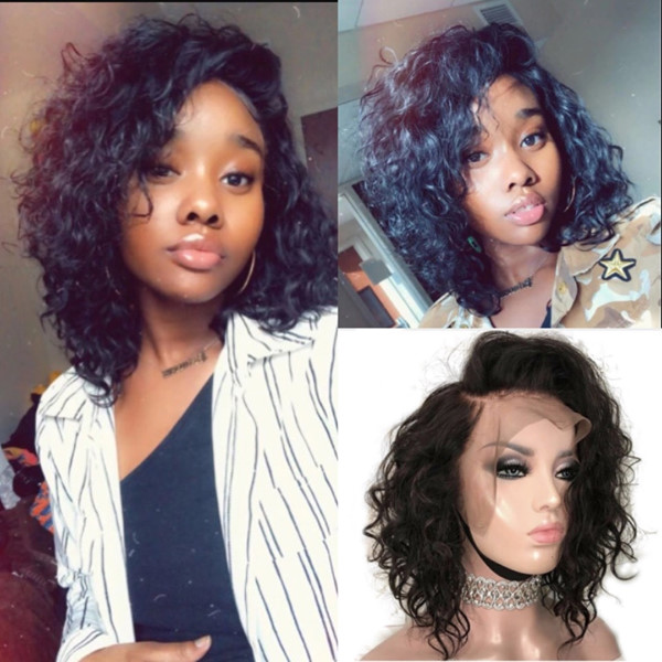 Pre-Bleached Curly Brazilian Virgin Hair Lace Front Short Bob Wigs