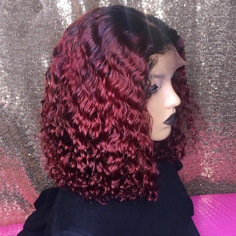 【NEW IN】#1B/99J Ombre Pre-plucked Water Wavy Bob Lace Front Wig