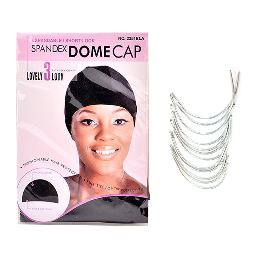 Professional Spandex Dome Wig Cap and C-Curved Needle for Weaving HA60