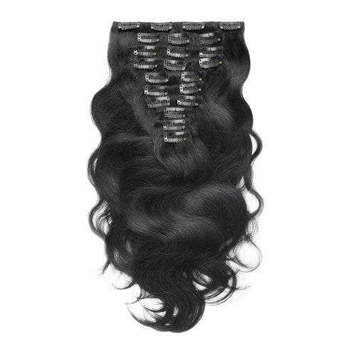 【Deluxe】	160g 20 Inch #1 Jet Black Body Wavy Clip In Hair