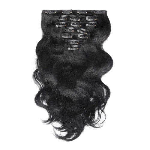 【Volumizer】	70g 16 Inch #1 Jet Black Body Wavy Clip In Hair