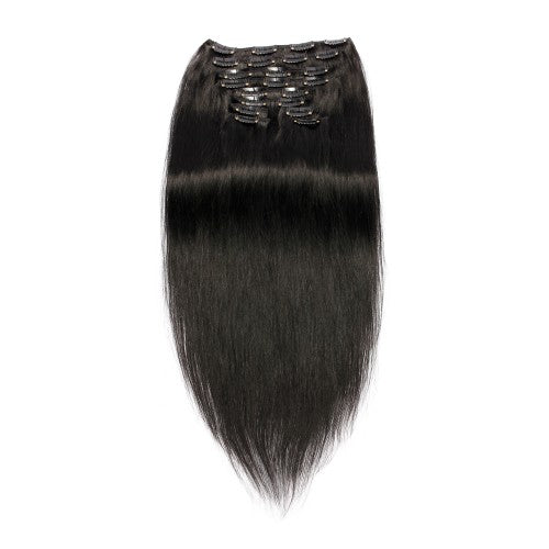 【Regular】	120g 18 Inch #1 Jet Black Straight Clip In Hair