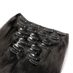 【Deluxe】	160g 20 Inch #1 Jet Black Straight Clip In Hair