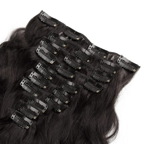 【Super Deluxe】	200g 22 Inch #1B Natural Black Body Wavy Clip In Hair