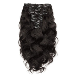 【Deluxe】	160g 20 Inch #1B Natural Black Body Wavy Clip In Hair