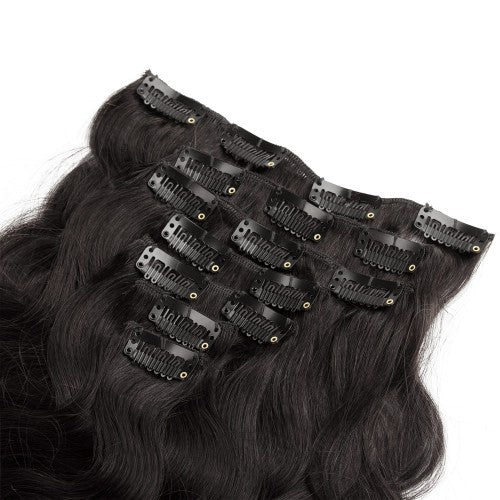 【Regular】	120g 18 Inch #1B Natural Black Body Wavy Clip In Hair
