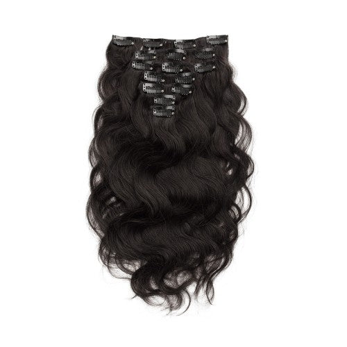 [Regular] 100g 18 Inch #1B Natural Black Body Wavy Clip In Hair