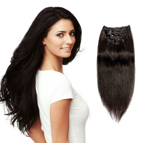 【Super Deluxe】	200g 22 Inch #1B Natural Black Straight Clip In Hair