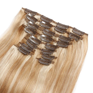 【Super Deluxe】	200g 22 Inch #27/613 Straight Clip In Hair