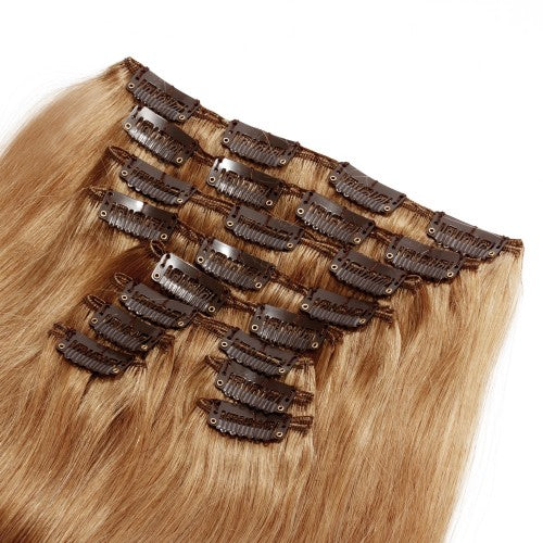 【Deluxe】	160g 20 Inch #27 Strawberry Blonde Straight Clip In Hair
