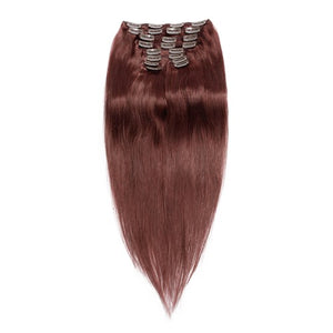 【Super Deluxe】	200g 22 Inch #33 Rich Copper Red Straight Clip In Hair
